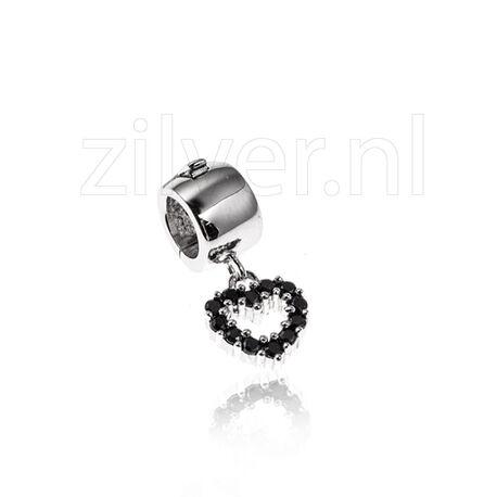 Side Click On Charms Open Hart Zwart Zirkonia