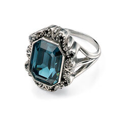 Ring Zilver Petrol Swarovski Kristal