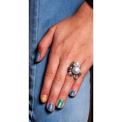 Zilveren Ring Bloem Parel