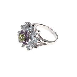 Zilveren ring bloem edelstenen