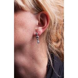 Zilver oorhangers pareltjes en topaas