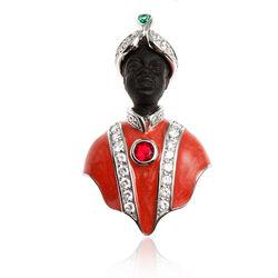 Zilveren Broche Moor Oranje Emaille