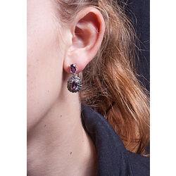 Zilver oorbellen amethist en markasiet