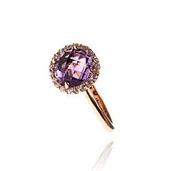 Rosé Vergulde Ring Amethist Zirkonia