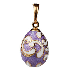 Faberge ei hanger lila & wit emaille zirkoon