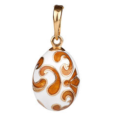 Ei Hanger wit oranje emaille Fabergé 01493wo