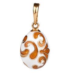 Fabergé hanger met wit en oranje emaille