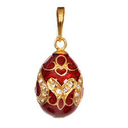 Fabergé Tsars Collectie Hanger Rood Emaille Zirkoon 23820r