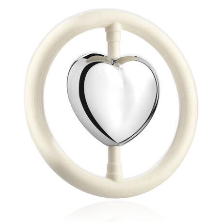 Zilveren rammelaar hart in bijtring