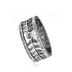 Gl Ring Zilver Crystals Bladmotieven