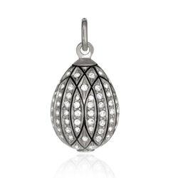 ZIlveren hanger ei met zirkoon P63003 Fabergé