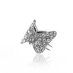 Gl Zilveren Ring Vlinder Crystals