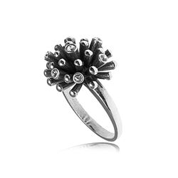 Gl Ring Zilver Bloem Crystals