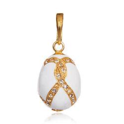 Faberge Hanger Wit Emaille Zirkonia Goudverguld
