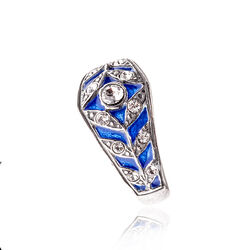 RIng zilver met blauw emaille GL Timeless