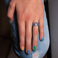 Gl Zilveren Ring Blauw Emaille Crystals