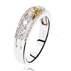 witgouden ring 54 briljanten gele diamant