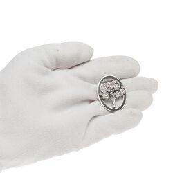 Gl Broche Levensboom Zwart Emaille Parels Crystals