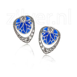 Gl Oorstekers lelieblad blauw emaille crystals