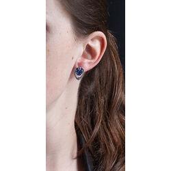 zilver oorstekers lelie blauw emaille GL