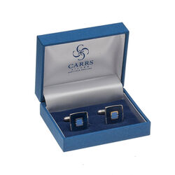 Carrs Zilveren Manchetknopen Blauw Emaille