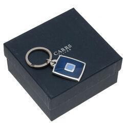 Carrs Zilveren Sleutelhanger Blauw Emaille