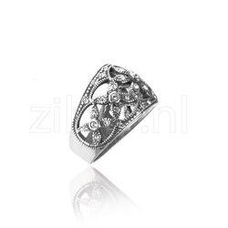 Gl Zilveren Ring Bloemmotief