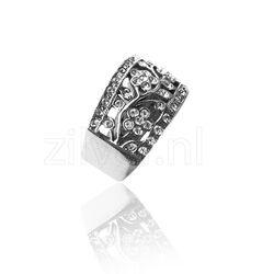 Gl Zilveren Ring Bloemen Swarovski Crystals