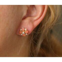 Gouden hanger oorbellen parel en bloedkoraal