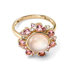 9 Karaats geelgouden ring parelmoer en roze saffier