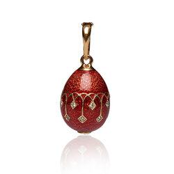 Verguld zilveren ei hanger rood emaille van Faberge F015r