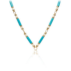 Faberge Collier Golled Filled Parels Turkoois