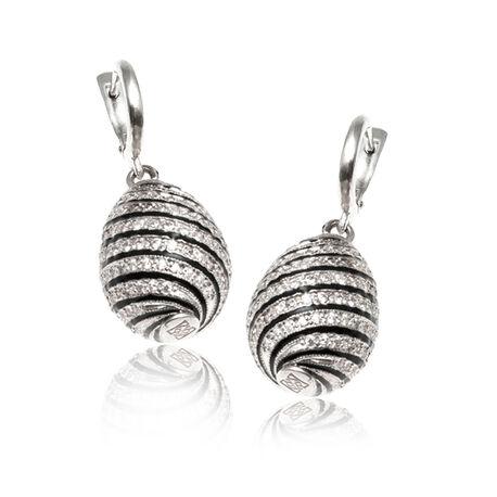 Faberge oorbellen zwart wit