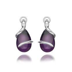 Zilveren oorbellen paars met diamantje