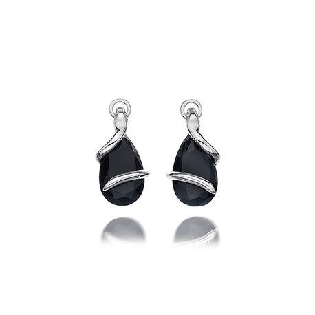 Zilveren oorbellen met zwart zirkonia