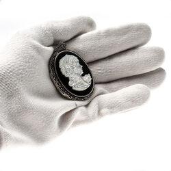 zilver medaillon camee onyx parelmoer markasiet