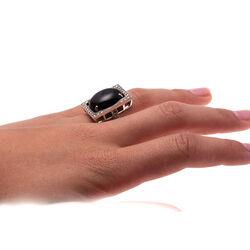 zilver ring grote onyx en markasiet