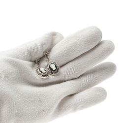 Zilver oorbellen camee onyx markasiet