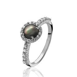 Zilver ring donker parelmoer Zinzi zir1039z