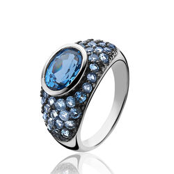 Zilveren ring blauw zirkonia ZIR1045b Zinzi
