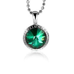 Zilveren hanger groen swarovski crystal zih1055g