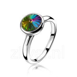 Zinzi Ring Swarovvski Crystals Donker Zir1006m