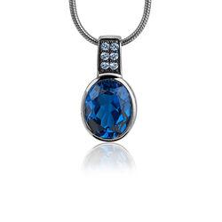 Zilveren hanger blauw zirkonia zih1045b Zinzi