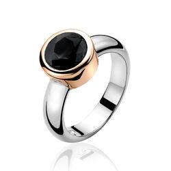 Zinzi Ring Rose Verguld Zwart Zirkonia Zir050n