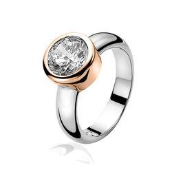 Zinzi ring rosé verguld e kop met wit zirkonia ZIR050d
