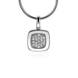 vierkant zilver hangertje met zirkonia zih1058 Zinzi