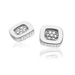 Vierkante oorstekers zilver met zirconia zio1058 Zinzi