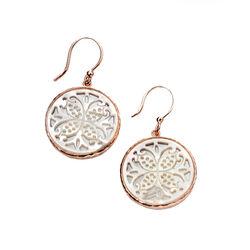 Elements oorhangers roséverguld zilver met parelmoer