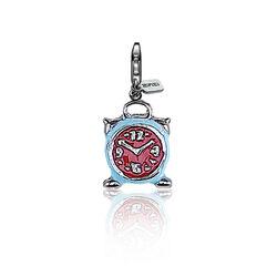 Zilveren charms wekker met rood en blauw emaille Zinzi