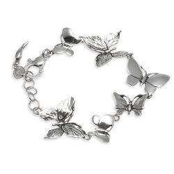 zilveren armband met rondom vlinders